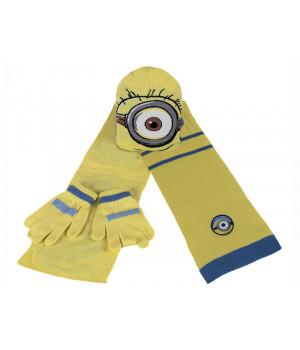 Комплект шапка шарф рукавички Миньоны 00454