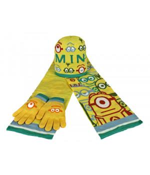 Комплект шапка шарф рукавички Миньоны 03180