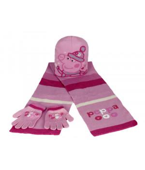 Комплект шапка шарф рукавички СВИНКА ПЕППА 00518