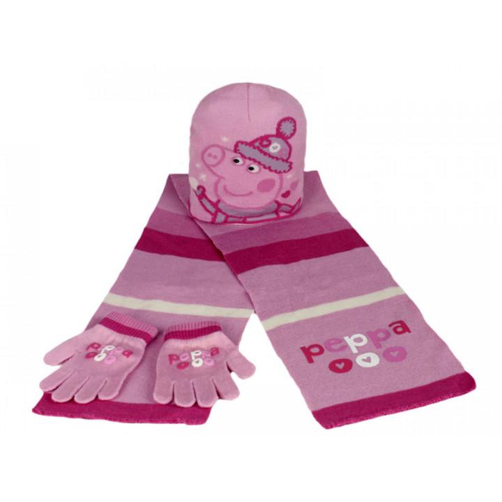 Купить комплект шапка шарф рукавички для девочки СВИНКА ПЕППА 00518