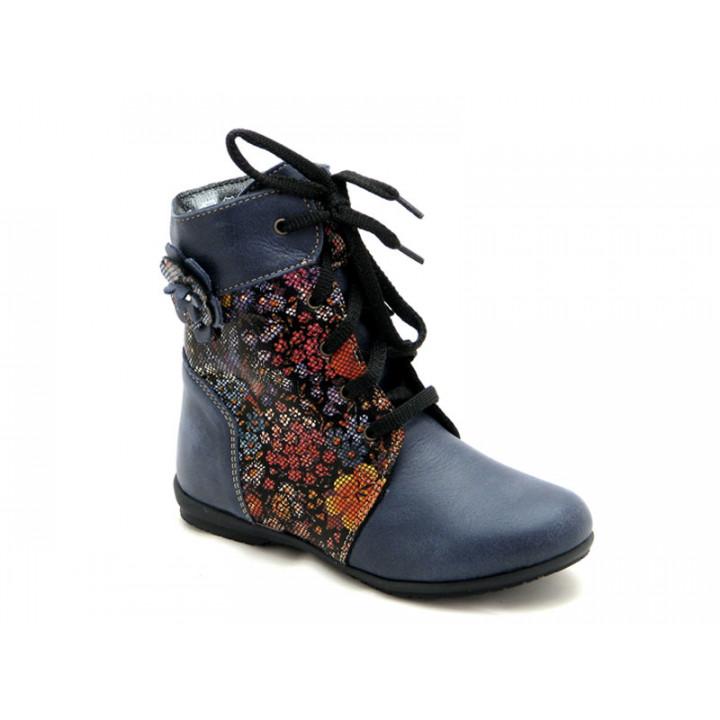 Купить детские демисезонные ботинки для девочки Берегиня 1320 синий ситец