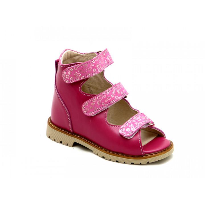 Купить ортопедические детские кожаные босоножки для девочек Берегиня 0906 фуксия
