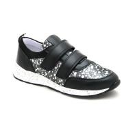 Стильні шкіряні кросівки для дівчат Мальви Ш145 чорний (32-36р.)