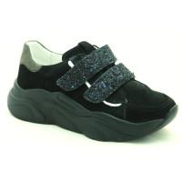 Стильные кожаные кроссовки для девочек Мальвы Ш469Ф Чорный (32-39р.)