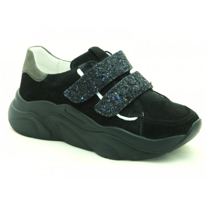 Шкіряні кросівки для дівчат Мальви Ш469Ф Чорний
