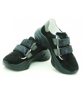Стильні шкіряні кросівки для дівчат Мальви Ш469Ф Чорний (32-39р.)
