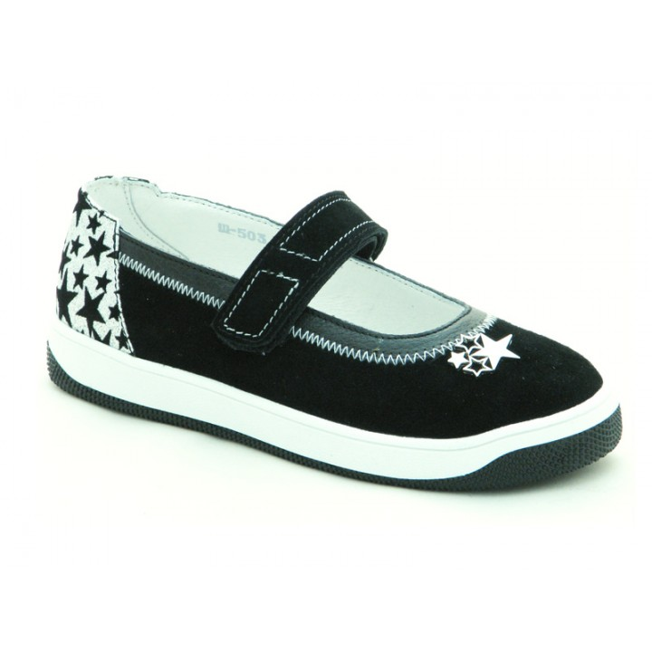 Шкіряні туфлі для дівчат Мальви Ш503 Чорний