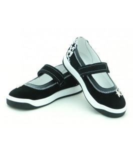 Стильні шкіряні туфлі для дівчат Мальви Ш503 Чорний (29-32р.)