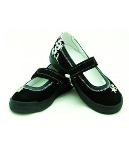 Стильні шкіряні туфлі для дівчат Мальви Ш503-1 Чорний (29-32р.)