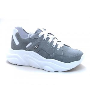 Стильні шкіряні кросівки для дівчат Мальви Ш462 сірий (32-36р.)