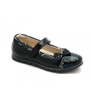 Школьные черные туфли для девочки Palaris 1478  (29-31р.)