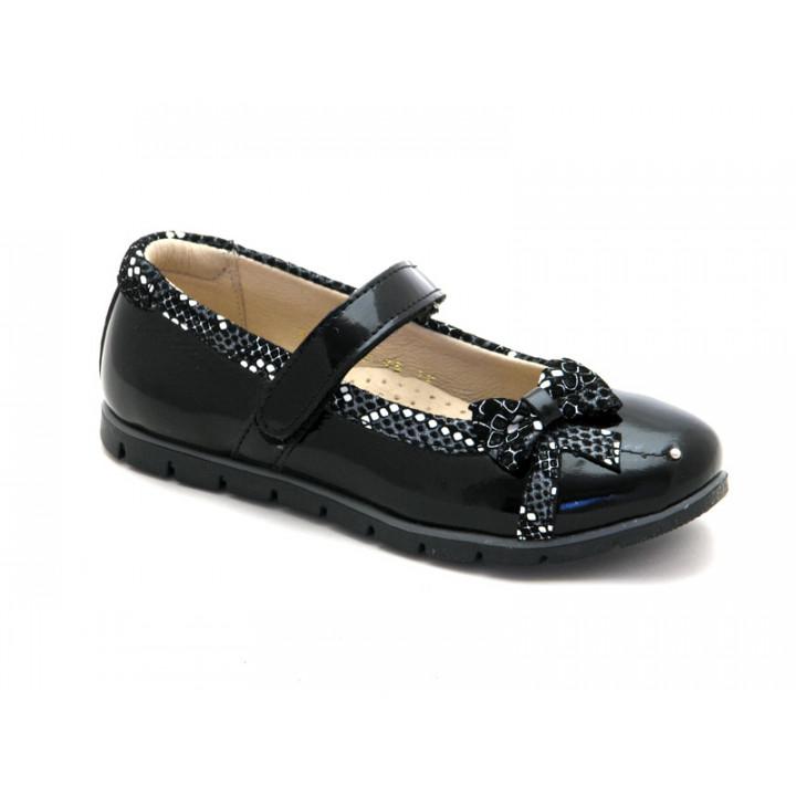 Купить школьные кожаные черные туфли для девочки Palaris 1478