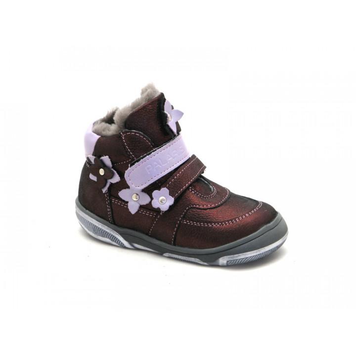 Купить стильные зимние ботинки для девочки Palaris 2285 бордо - натуральные мех