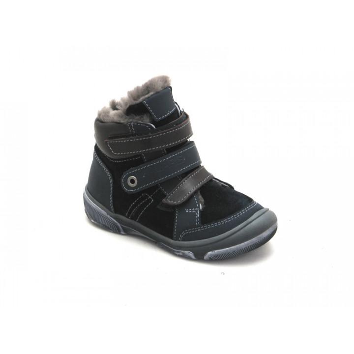 Купить детские кожаные зимние ботинки для мальчика Palaris 2285 синий - натуральный мех
