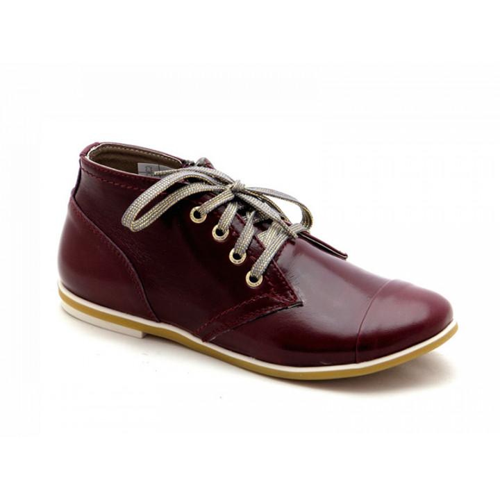Купить детские кожаные демисезонные ботинки для девочки Palaris 2141-3 бордо