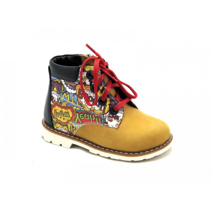 Купить детские кожаные демисезонные ботинки для ребенка Palaris 2112 рыжий