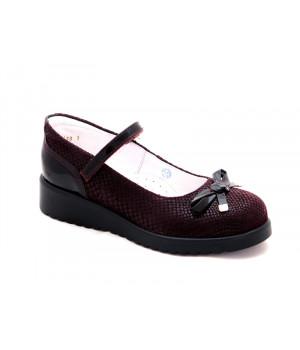 Туфли школьные для девочек ShagoVita 63182 бордо велюр (32-37р.)