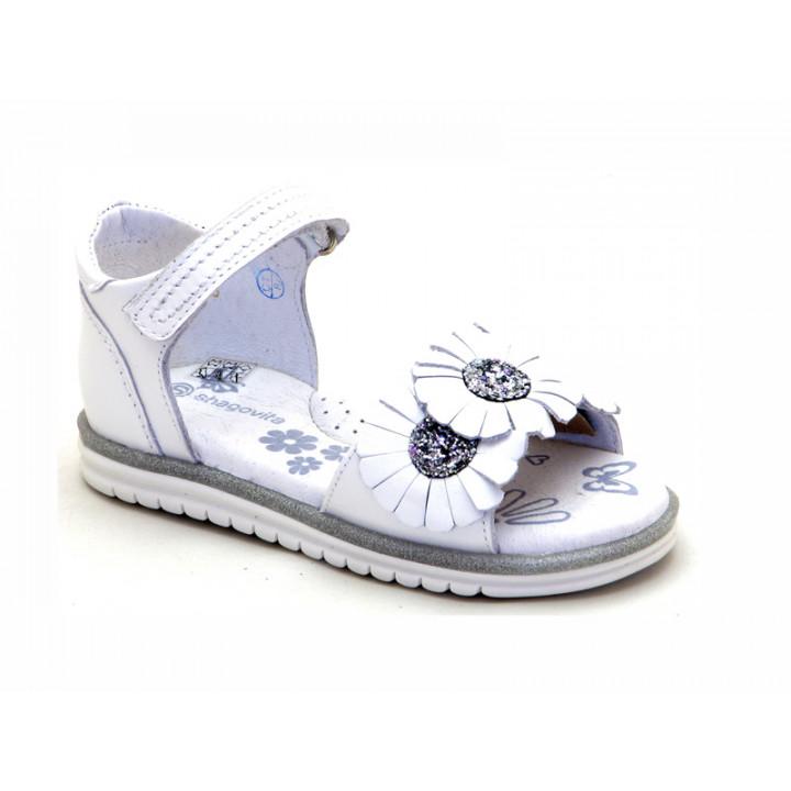 Купить белые кожаные босоножки для девочек ShagoVita (Беларусь) 44119