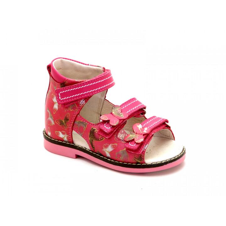 Купить малиновые кожаные босоножки для девочек ShagoVita VERO 24123