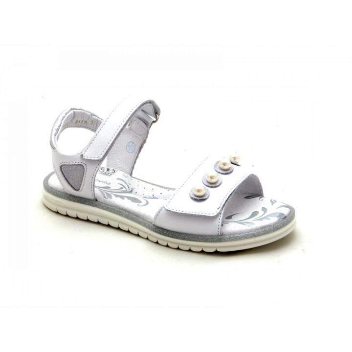 Купить белые кожаные босоножки для девочек ShagoVita (Беларусь) 6482
