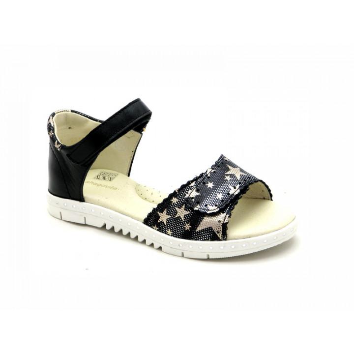 Купить черные кожаные босоножки для девочек ShagoVita (Беларусь) 6488