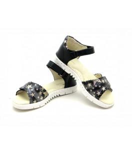 Черные кожаные босоножки для девочек ShagoVita 6488 (32-37р.)