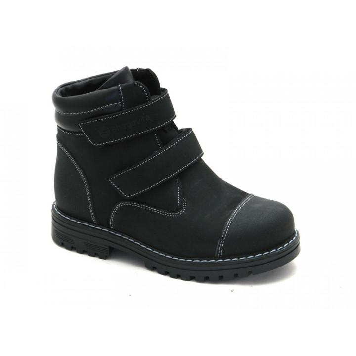 Зимові черевики для школярів хлопчиків ShagoVita 55251Ш чорний нубук