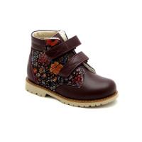 Профилактические зимние ботинки для девочки Берегиня 1323 бордо-ситец (27-31р.)