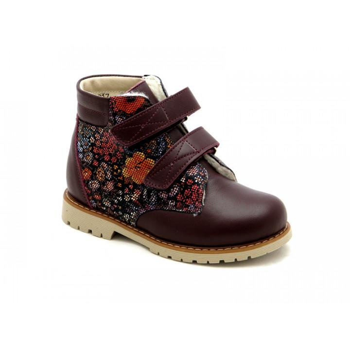 Купить детские профилактические зимние ботинки для девочек Берегиня 1323 бордо-ситец