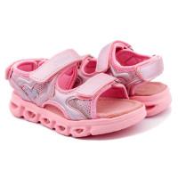 Босоніжки для дівчинки CliBee AB-43 LED pink (26-31р.)