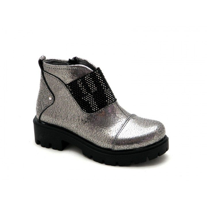 Купить демисезонные серебристые кожаные ботинки для девочки Krokky 12431-071