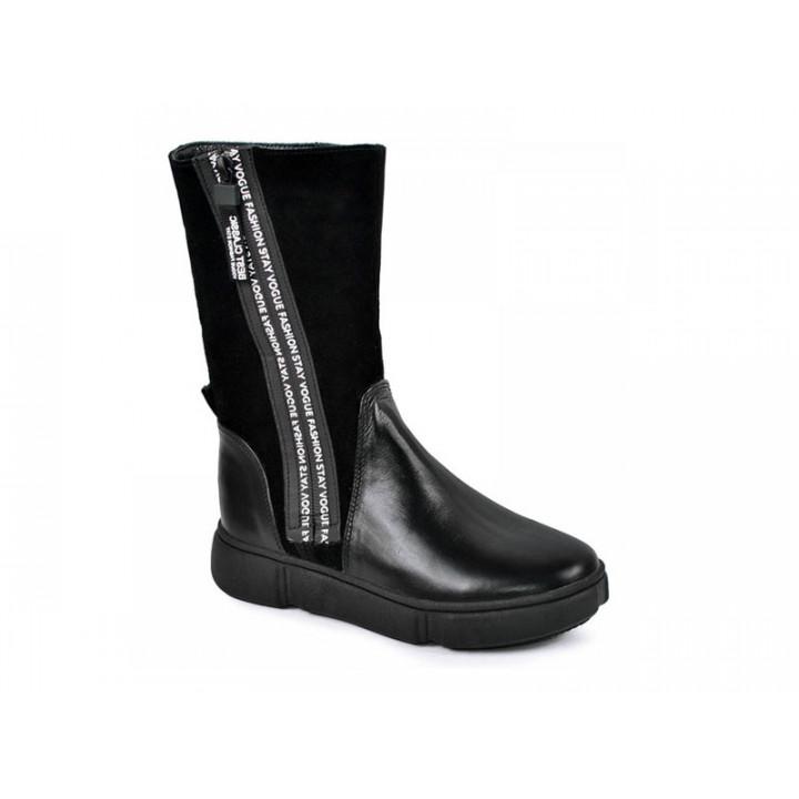Купити шкіряні зимові черевики для дівчат MAXUS 1906 чорний