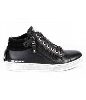 Стильні шкіряні демісезонні черевики для хлопчика Alex Bens БГ41/2 чорний (31-40р.)