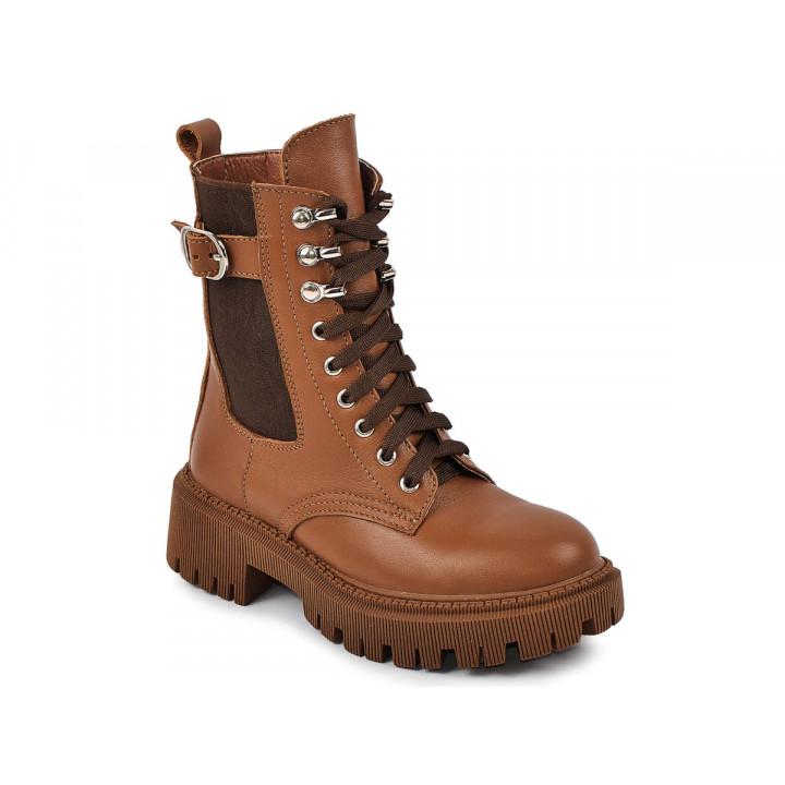 Купити шкіряні демісезонні черевики для дівчат MAXUS berta табак
