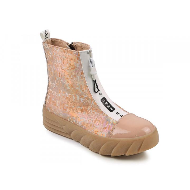 Купити шкіряні демісезонні черевики для дівчат MAXUS 1903 золото