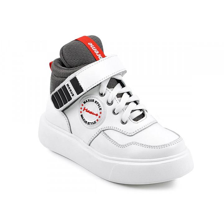 Купити шкіряні демісезонні черевики для дітей MAXUS supra білий