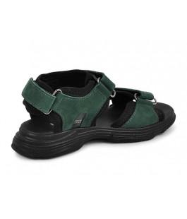 Стильні шкіряні босоніжки для хлопчиків MAXUS X6 зелений нубук  (32-39р.)