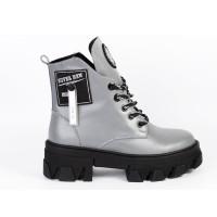 Стильні шкіряні демісезонні черевики для дівчат Alex Bens J-811 (31-40р.)