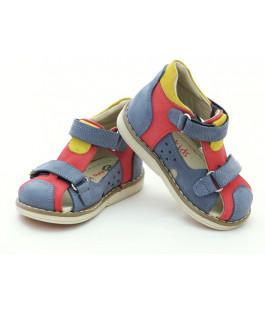 Шкіряні босоніжки для хлопчика Minno Kids Orthopedic 820 grey/red (18-20р.)