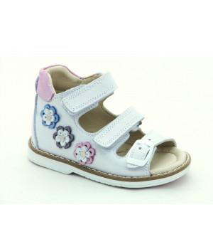 Шкіряні босоніжки для дівчинки Minno Kids Orthopedic 835 silver (21-25р.)