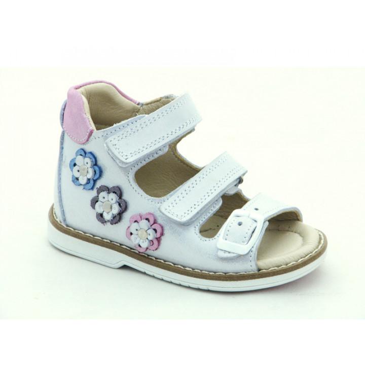 Купити шкіряні босоніжки для дівчинки Minno Kids 835 silver