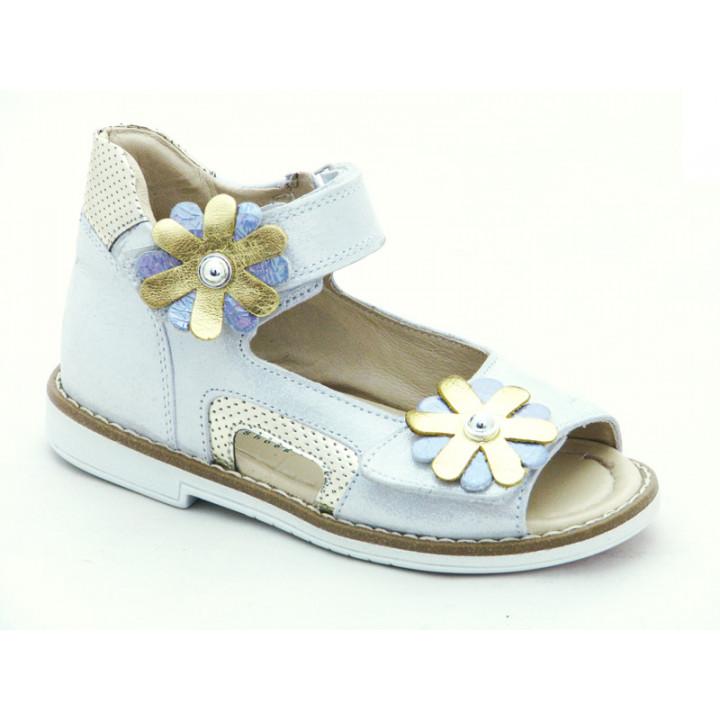 Купити шкіряні босоніжки для дівчинки Minno Kids 832 silver