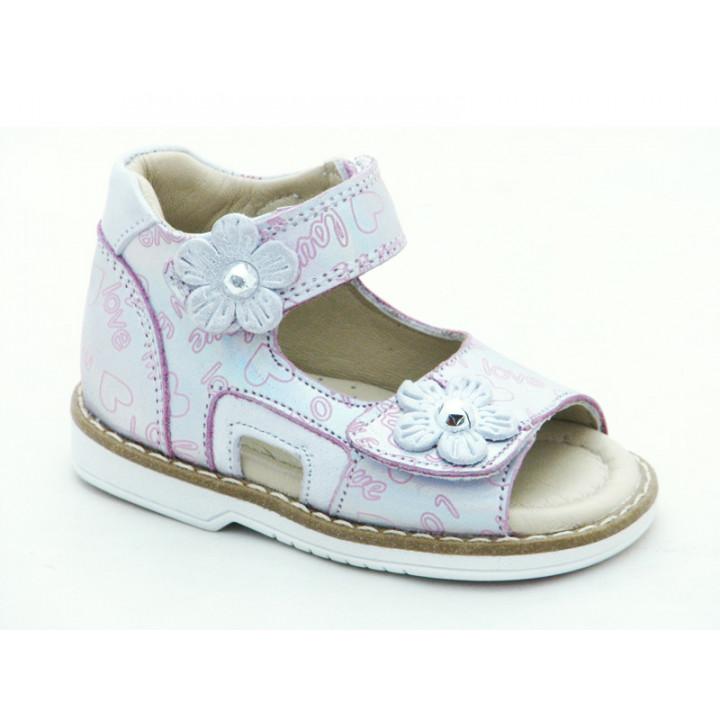 Купити шкіряні босоніжки для дівчинки Minno Kids 832 poudra
