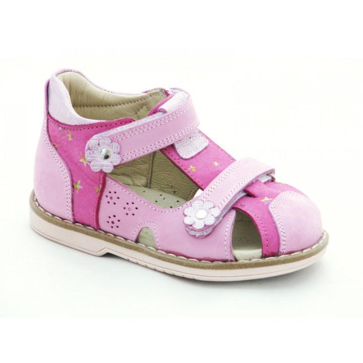 Купити шкіряні босоніжки для дівчинки Minno Kids 820 fusia