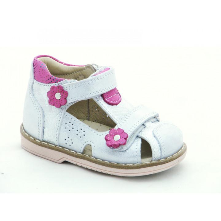 Купити шкіряні босоніжки для дівчинки Minno Kids 821 silver