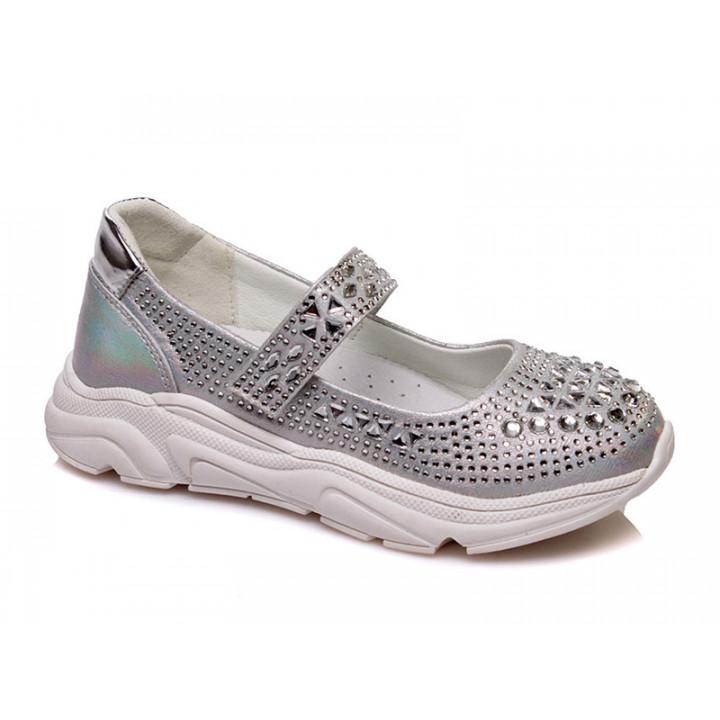 Купить стильные серебристые туфли для девочек СКАЗКА WeeStep R537333910 S