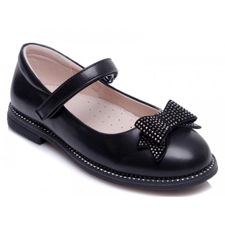 Купити стильні чорні туфельки для дівчинки WeeStep 191054351 BK