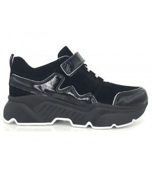 Стильні чорні кросівки для дівчинки Tobi 266-12 (33-36р.)