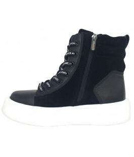 Стильні демісезонні чорні черевики для дівчинки Tobi 289-02 (33-37р.)